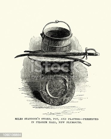Vintage engraving of Miles Standish's Sword, Pot and Platter