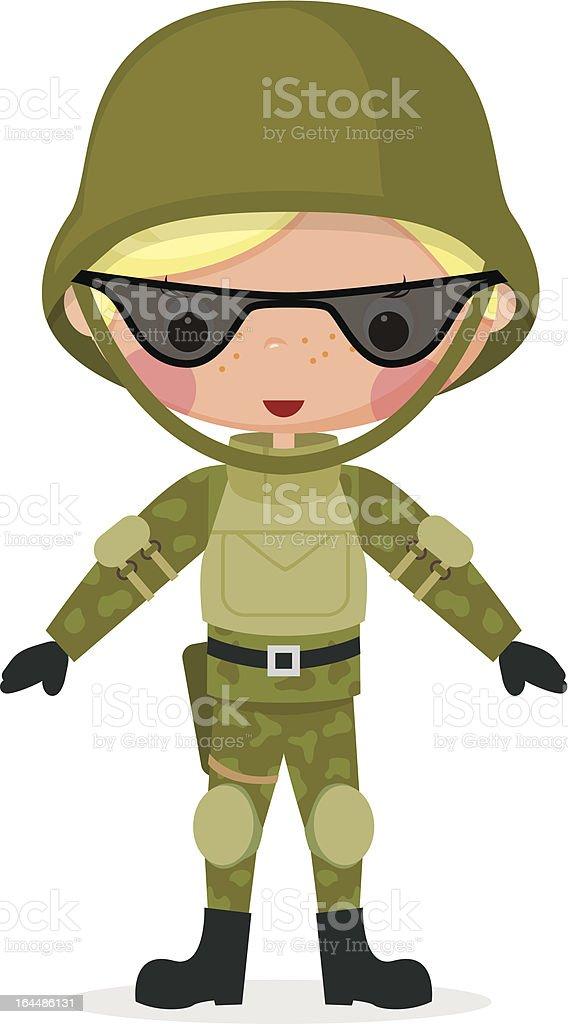 Military cartoon boy royalty-free stock vector art