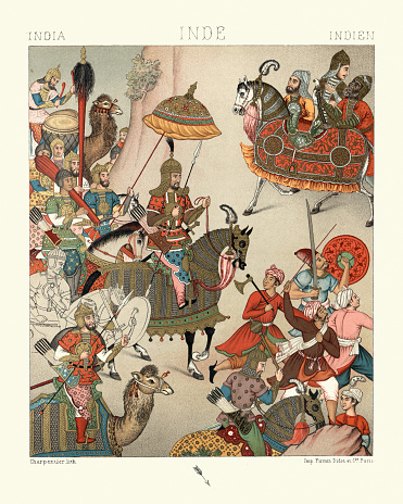Vintage illustration of Military costumes of 16th Century India, Warriors, Royal cavalry, Infantry