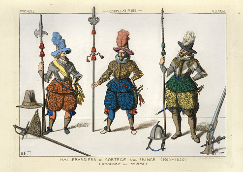 Military costumes of 17th Century Germany, Soldiers with halberds, musket, sword