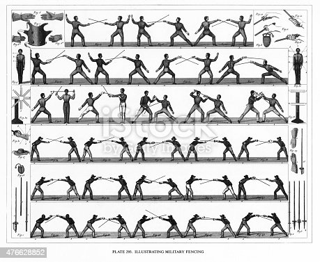 Military Fencing Techniques Engraving Stock Vector Art