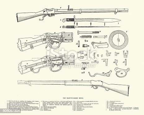 """Vintage engraving of a diagram of the Martini €""""Henry breech-loading single-shot lever-actuated rifle adopted by the British Army. It first entered service in 1871 and variants were used throughout the British Empire for 30 years."""