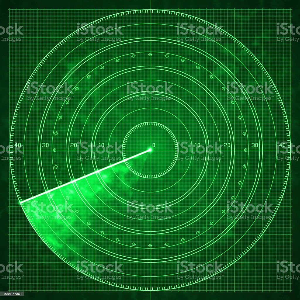 Military radar green display with coordinates vector art illustration