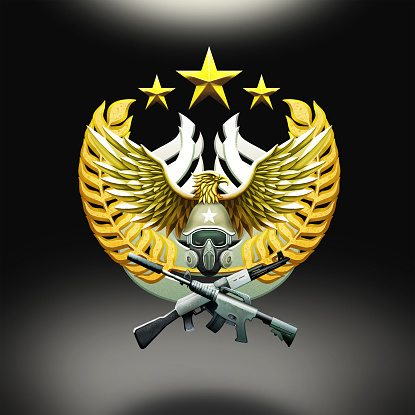 Military Rigging Icon Illustration, Soldier With Mask and Rifles, Golden Texture, Eagle Statue, Badge