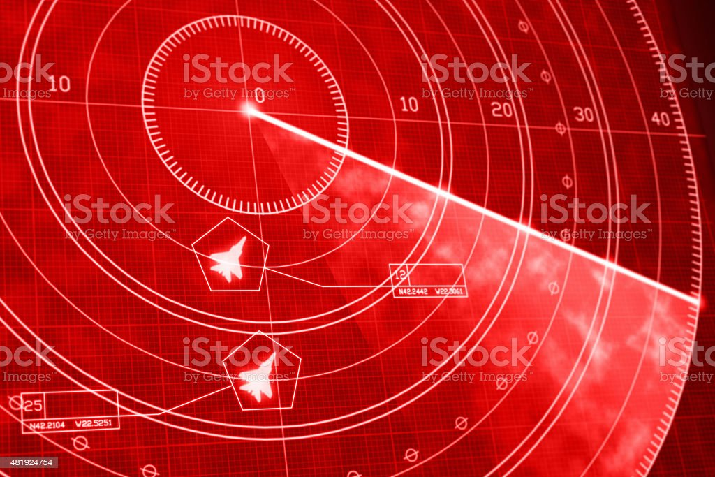 Military war airplanes on red radar display with coordinates vector art illustration