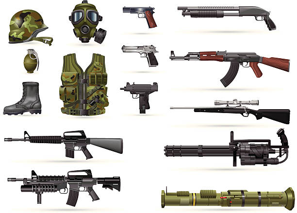 Military Weapons various weapons and armor gun stock illustrations