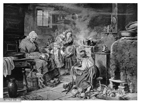 Milk Boiling Over!  - Scanned 1894 Engraving