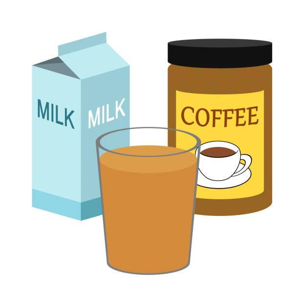 ilustrações de stock, clip art, desenhos animados e ícones de milk coffee - café solúvel