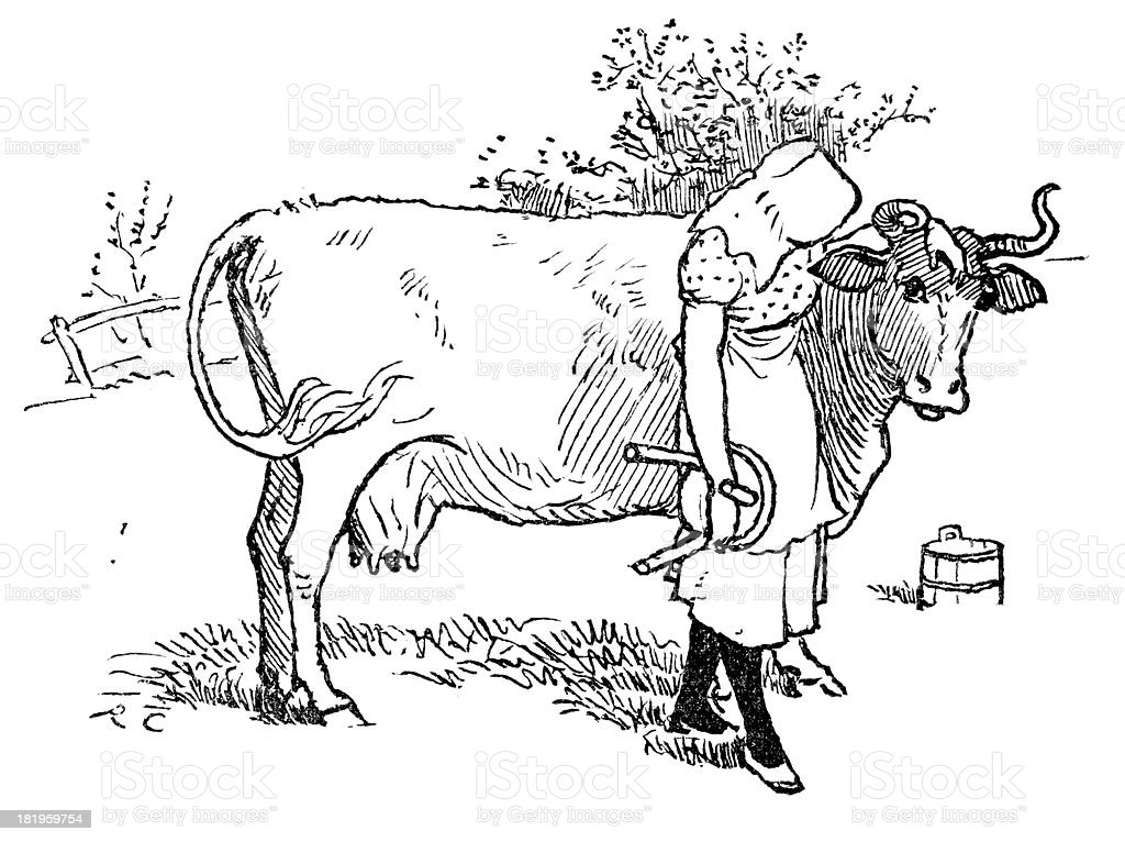 Milk Maid royalty-free stock vector art