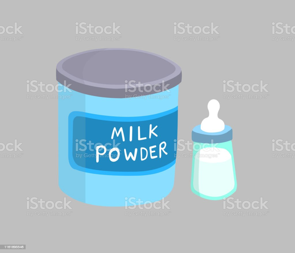 Milk powder canned and milk bottle isolated on gray background. Milk...