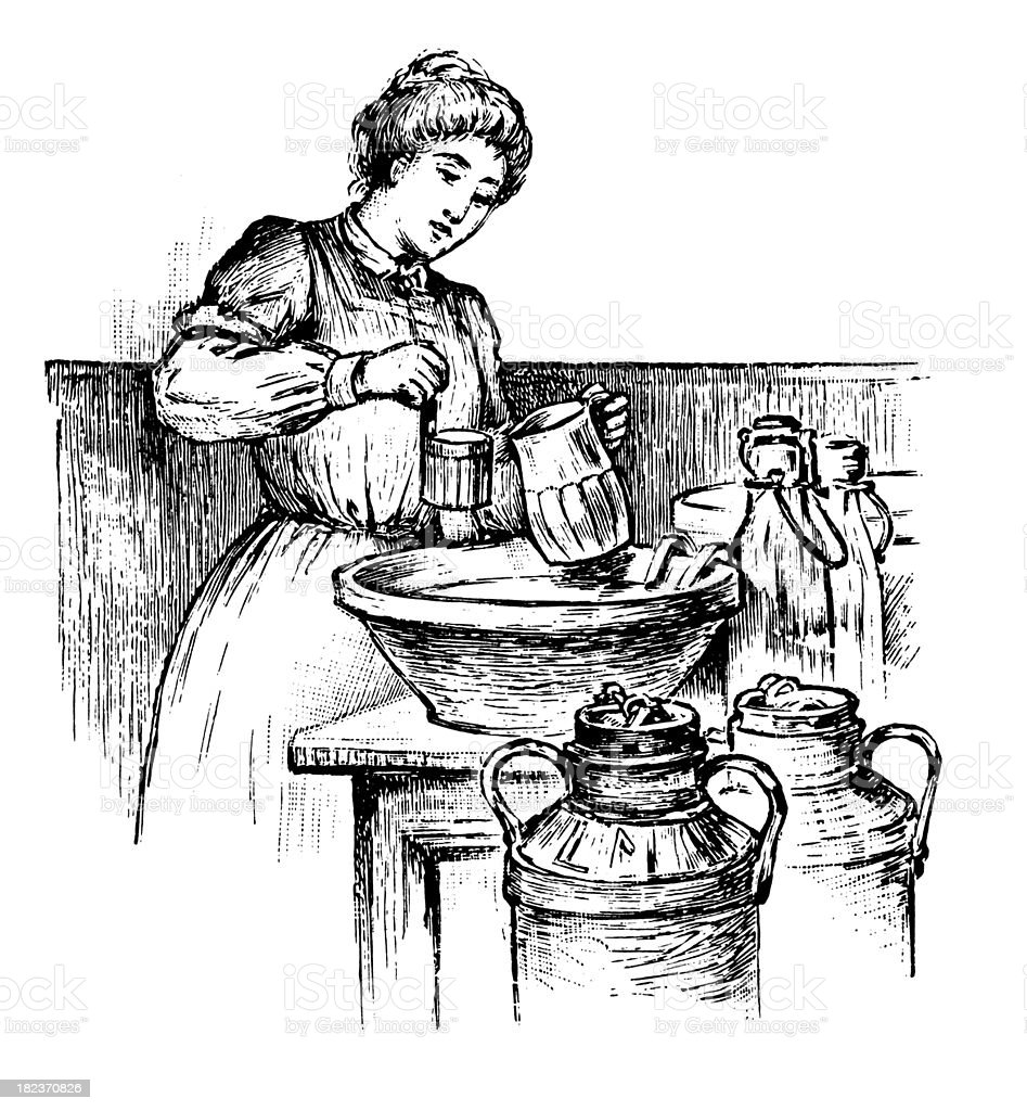 Milk seller | Antique Design Illustrations royalty-free stock vector art