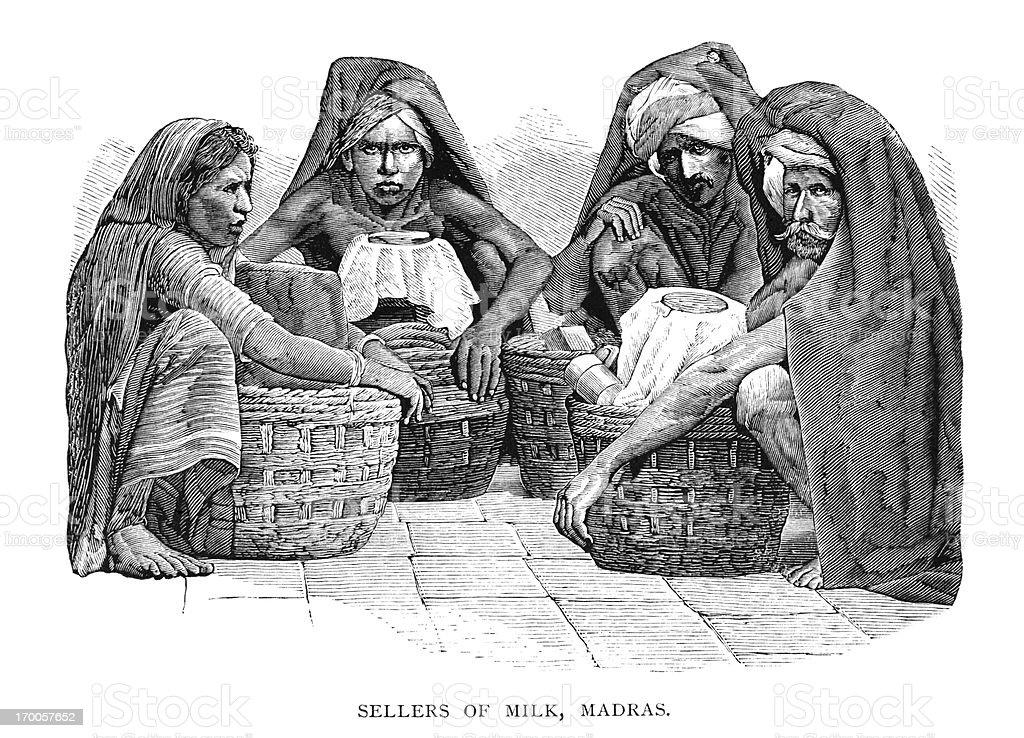 Milk sellers in Madras (Victorian engraving) royalty-free stock vector art