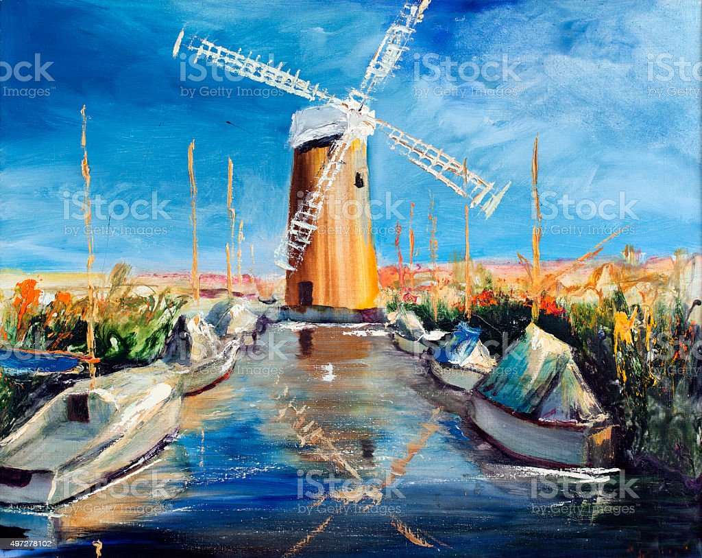 Mill channel with boats vector art illustration