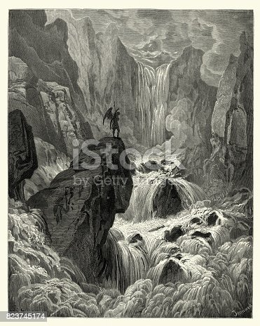 Vintage engraving by Gustave Dore, from Milton's Paradise Lost. In eith the river sunk, and with is rose, Satan