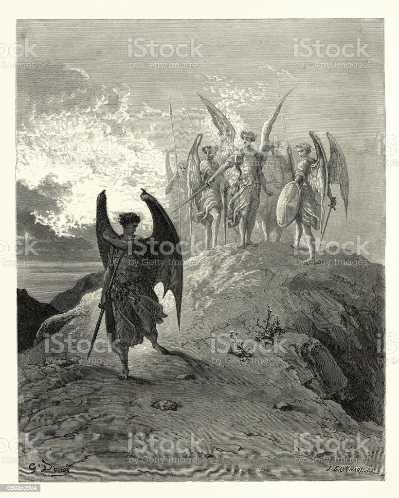 Paradise Lost de Milton - huyeron las sombras de la luz - ilustración de arte vectorial