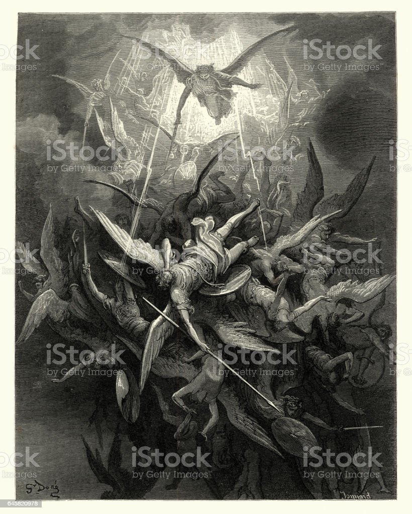 Milton's Paradise Lost -  Gustave Dore - Almightly Power - ilustración de arte vectorial
