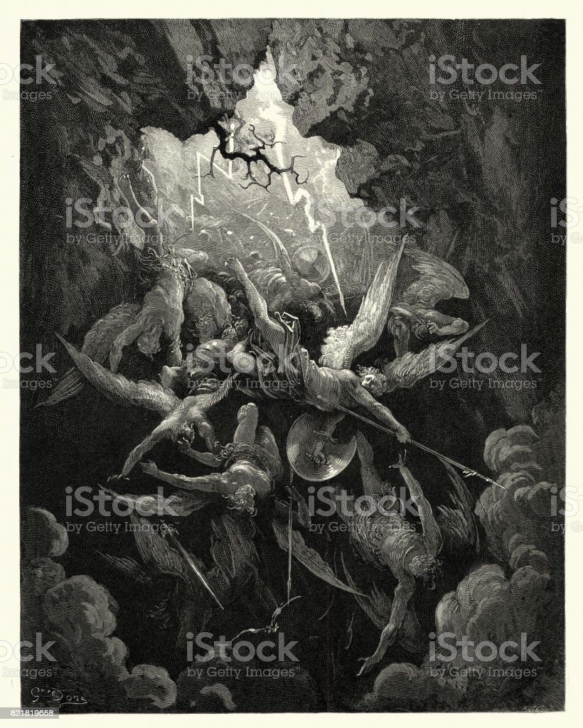 Milton's Paradise Lost - Hell at last, Yawning vector art illustration