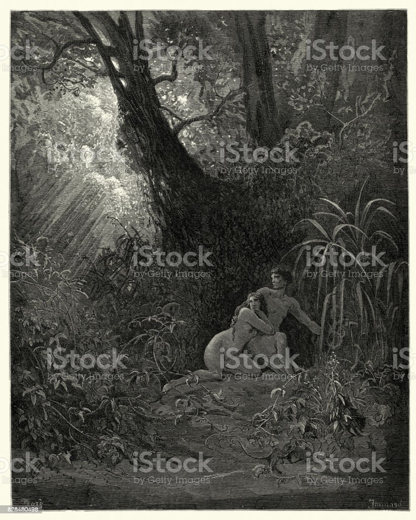 Milton's Paradise Lost -  hid themselves amoung, The thickest trees vector art illustration