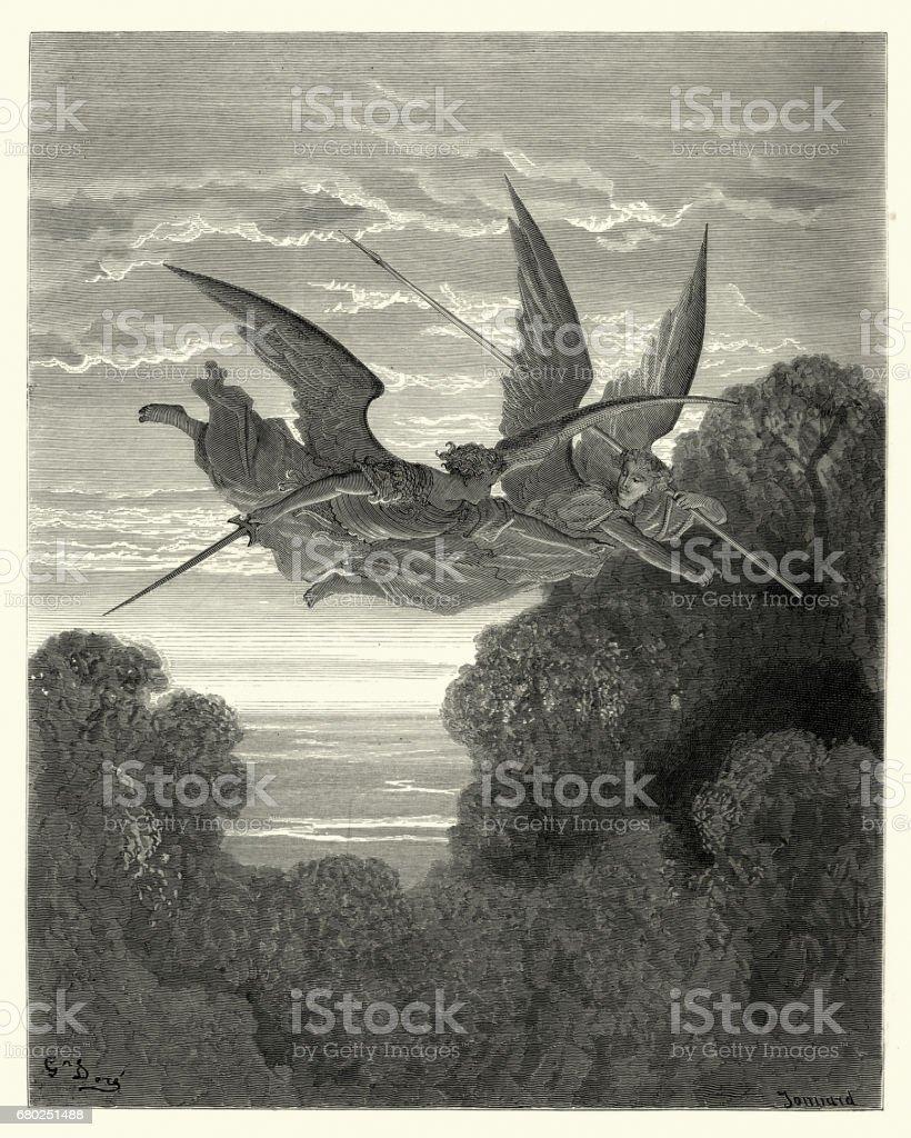 Paradise Lost de Milton - en busca de quienes buscaban - ilustración de arte vectorial