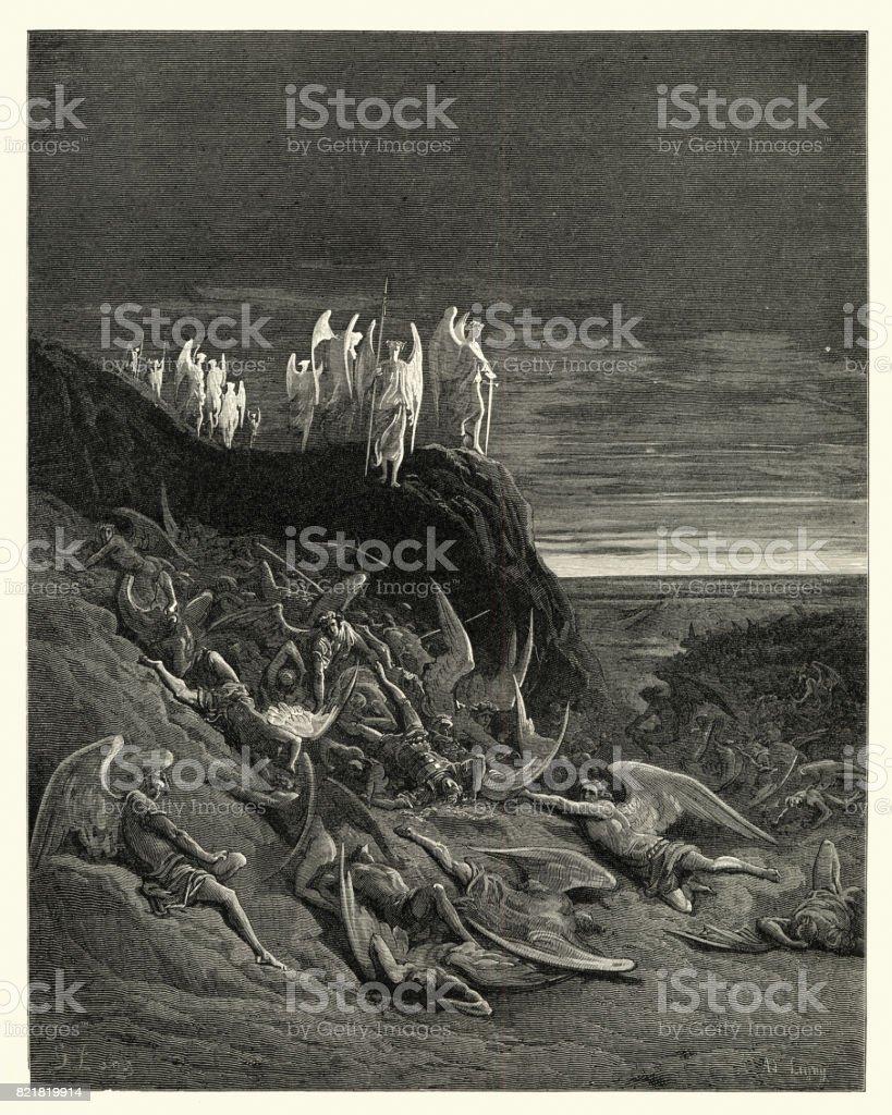 Paradise Lost de Milton - en el campo de foughten - ilustración de arte vectorial