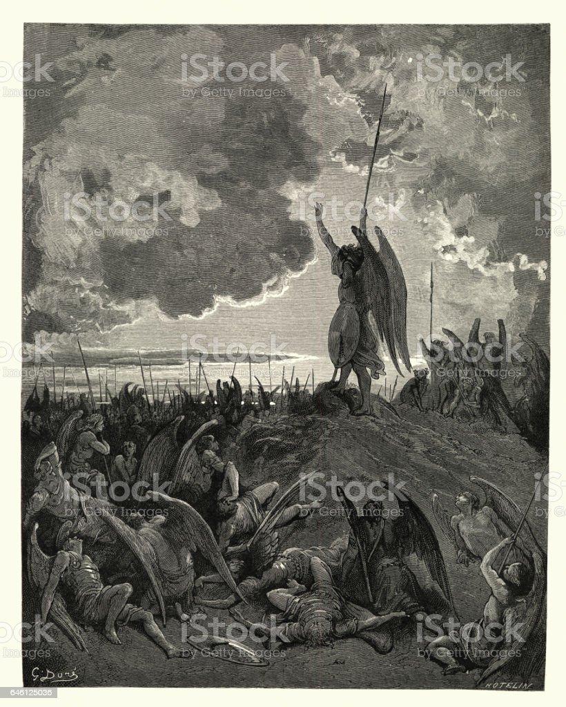 Paradise Lost de Milton - oyeron y se avergonzado - ilustración de arte vectorial