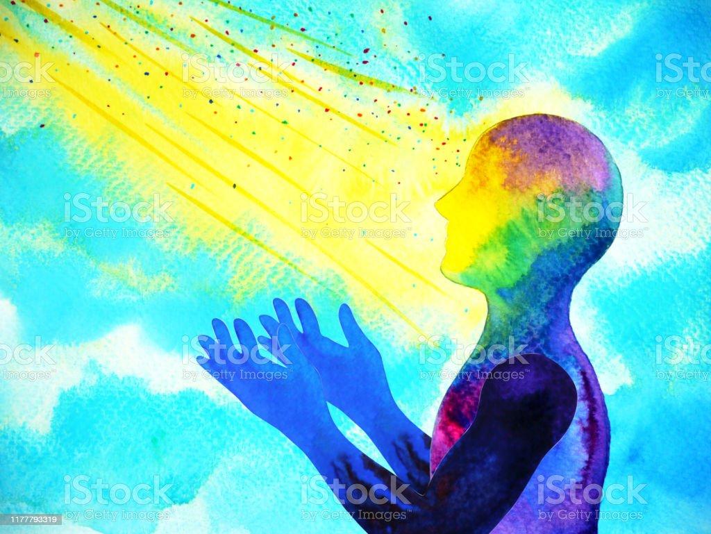 Geist Spirituellen Menschlichen Kopf Abstrakte Kunst Aquarell Malerei Illustration Design Handzeichnung Stock Vektor Art Und Mehr Bilder Von Abstrakt Istock