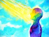 mind spiritual human head abstract art watercolor painting illustration design hand drawing