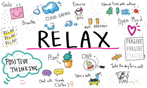 mindfulness optimism relax harmony concept - mindfulness stock illustrations
