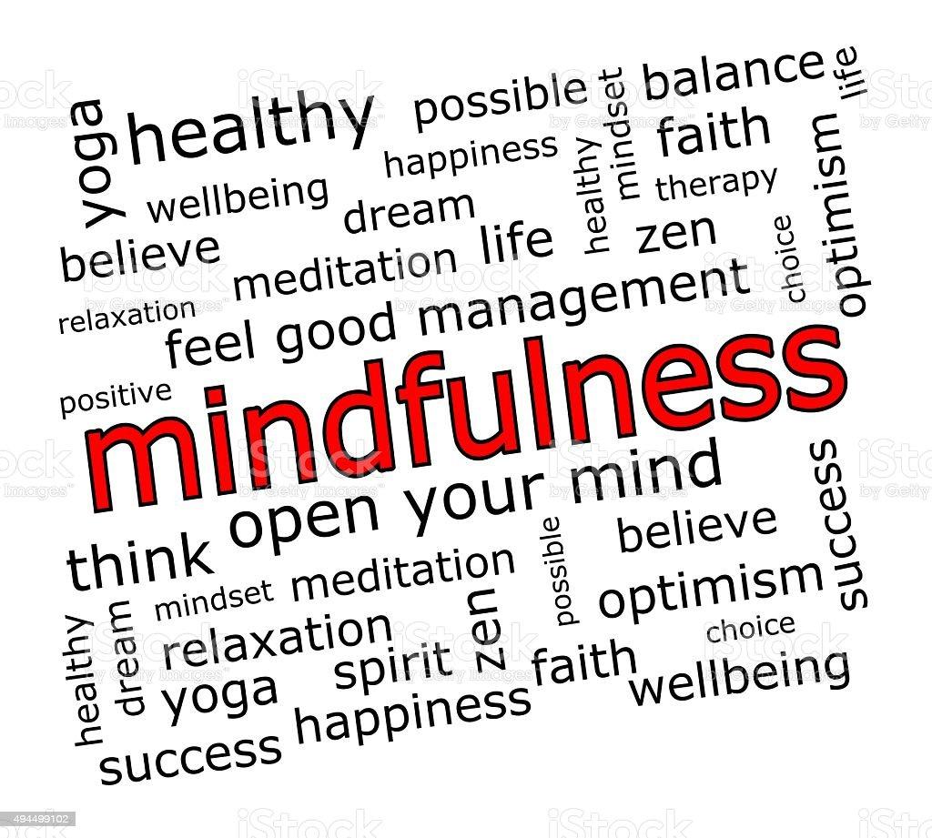 Mindfulness Wordcloud vector art illustration