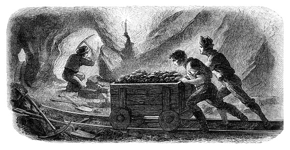 Mine worker working in California USA 1862 Original edition from my own archives Source : Tour du monde 1862 Drawing : Sargent - Chassevent