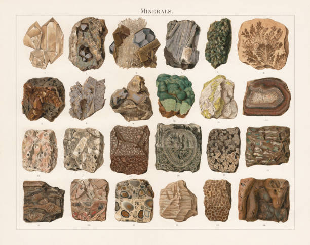 Minerals and stones, lithograph, published in 1897 Minerals and stones: 1) Freestanding crystal group of a quartz (Herkimer County, New York State, USA); 2) Cobaltite with ingrown crystals (Tunaberg, Sweden); 3) Grown crystals (veining grading) of galena and siderite (Heudorf, Lower Saxony, Germany); 4) Stibnite antimonite (Arnsberg, North Rhine-Westphalia, Germany); 5) Green diopside (Arnedal, Norway); 6) Manganese-oxyd dendrites (Solnhofen, Germany); 7) Grown crystals (Buffaure, Fassa Valley, Italy); 8) Knitted structure of silver ore (Potosi Bolivia); 9) Plated structure of gold ore (Transylvania, Romania); 10) Grape structure of malachite (Karpinsk, Russia); 11) Sulfur, trapped in plaster (Weenzen, Niedersachsen, Germany); 12) Polished agate (Oberstein, Thuringia, Germany); 13) Grainy structure of granite (Baveno, Italy); 14) Porphyry structure of granite porphyry; 15) Semi-polished structure of porphyrite (Jabal ad Dukhan, Bahrain); 16) Spherulitic structure in grainy stone of a ball diorite, semi-polished (Corsica, France); 17) Spherulitic structure in glassy stone of a obsidian, semi-polished (Lipari, Sicily, Italy); 18) Almond stone structure of melaphyre (Ilfeld, Thuringia, Germany); 19) Gneiss; 20) Breccia, debris agate, semi-polished; 21) Conglomerate, pudding stone, semi-polished (England); 22) Banded structure of plaster (Ilfeld); 23) Oolith, semi-polished (Staßfurt, Saxony-Anhalt, Germany); 24) Surface of lava (Hawaii). Lithograph, published in 1897. malachite stock illustrations
