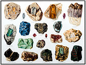 Illustration of a Minerals and Their Crystalline Forms
