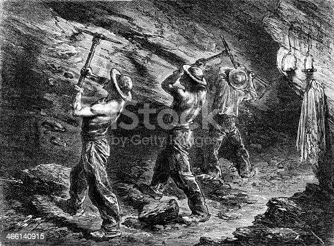 Miners in a coal-mine
