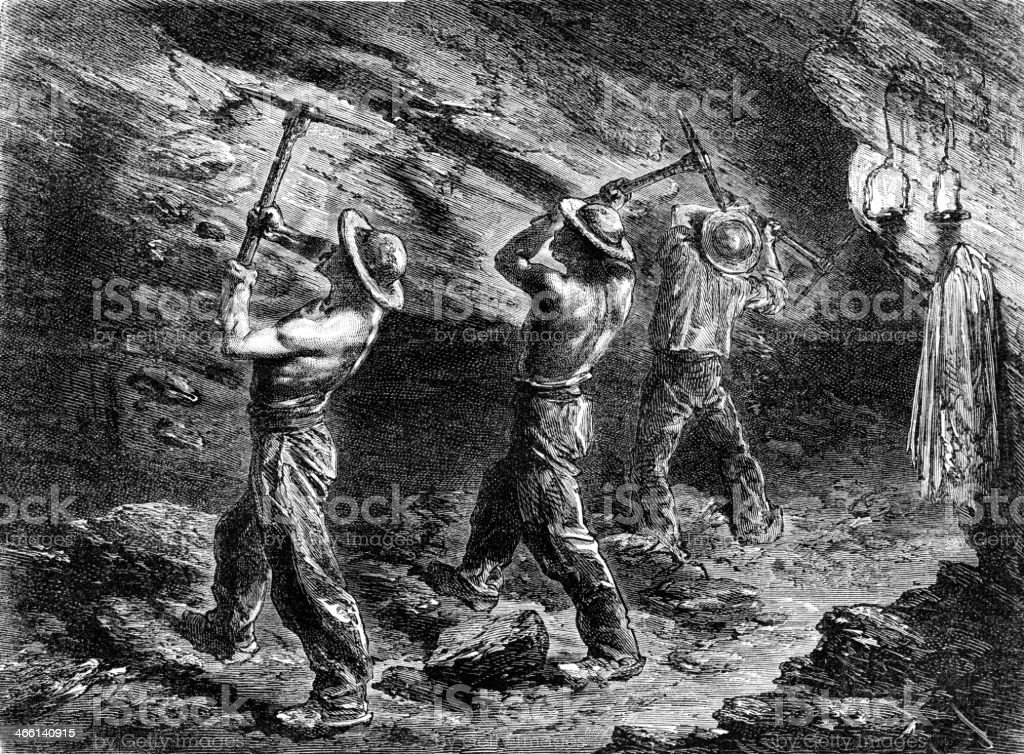 Miners in a coal-mine vector art illustration