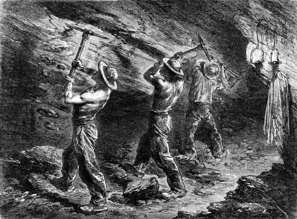 miners in a coal-mine - old man picture pictures stock illustrations, clip art, cartoons, & icons