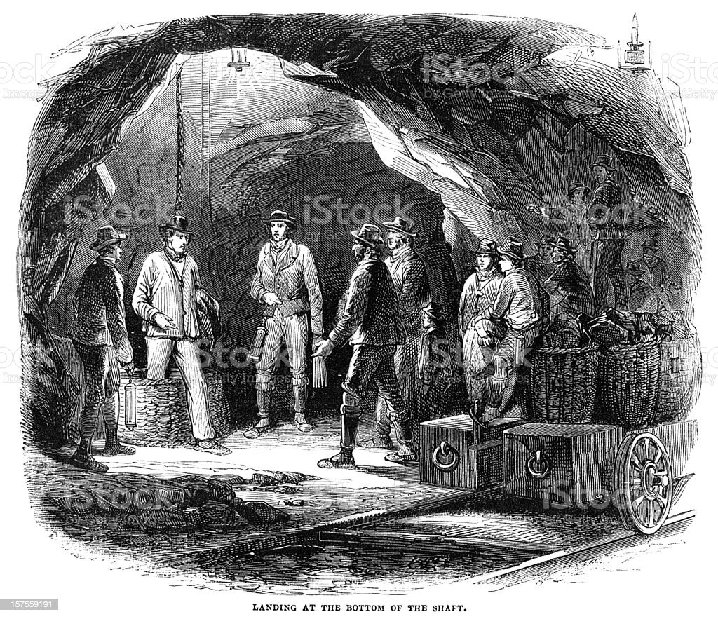 Miners in a Newcastle coal-mine - 1855 illustration royalty-free stock vector art