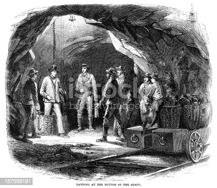Mine workers ready to start work in a Newcastle coal mine, having just arrived at the bottom of the shaft. Engraving from