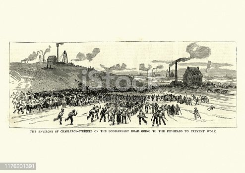 Vintage engraving of scene from Miners strike in Belgium, 1886, 19th Century.  Environs of Charleroi, Strikers on the Lodelinsart Road going to the pit heads to prevent work.