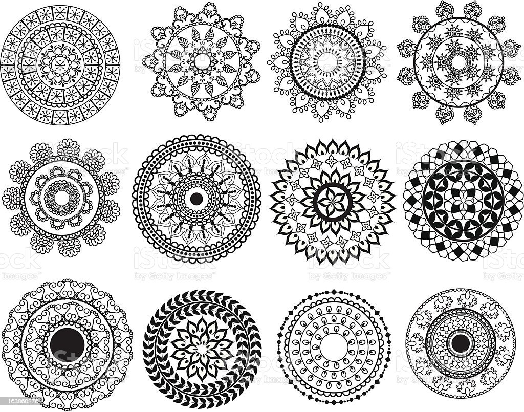 Mini Mandala Designs Stock Vector Art Amp More Images Of Backgrounds 163860276