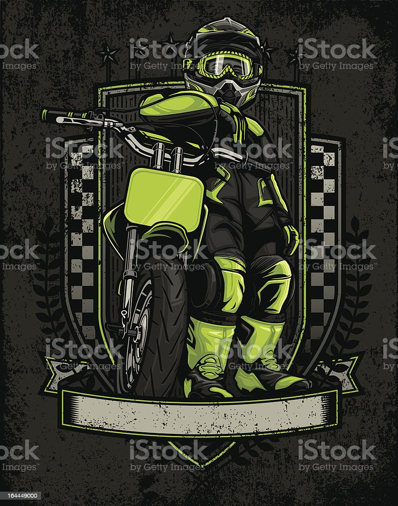 Mini Motard Racer: Stare Down Pose - Crest Version vector art illustration