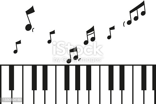 istock Minimal style piano horizontal illustration with sheet music and musical note flying away 1330504165