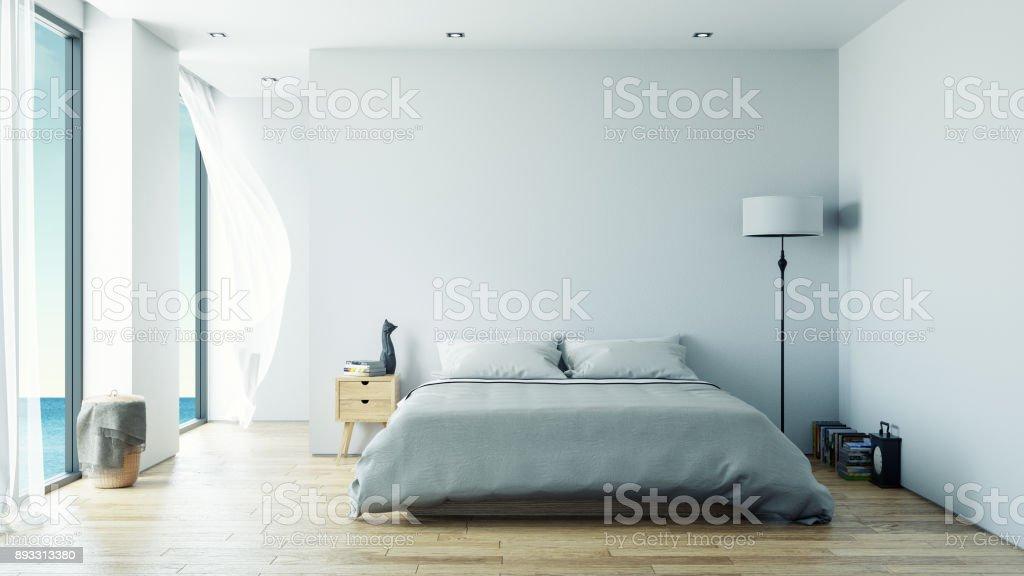 minimalist  interior Bedroom design concept ,Summer , sea view at villa,beach lounge,/3d rendering vector art illustration