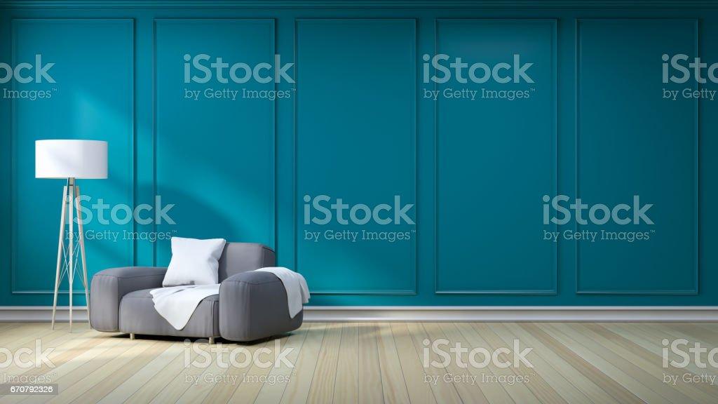 Blauwe Design Bank.Minimalistische Interieur Donkere Grijze Bank Met Licht Op Groen