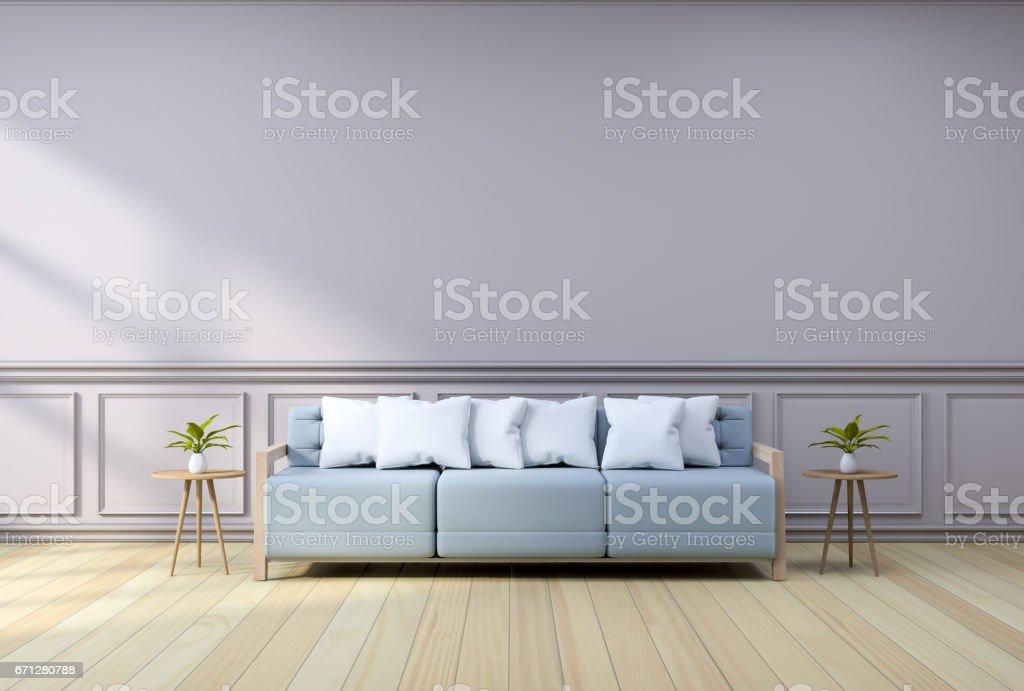 Minimalist Interior Designlight Blue Armchair With Wood Table On ...