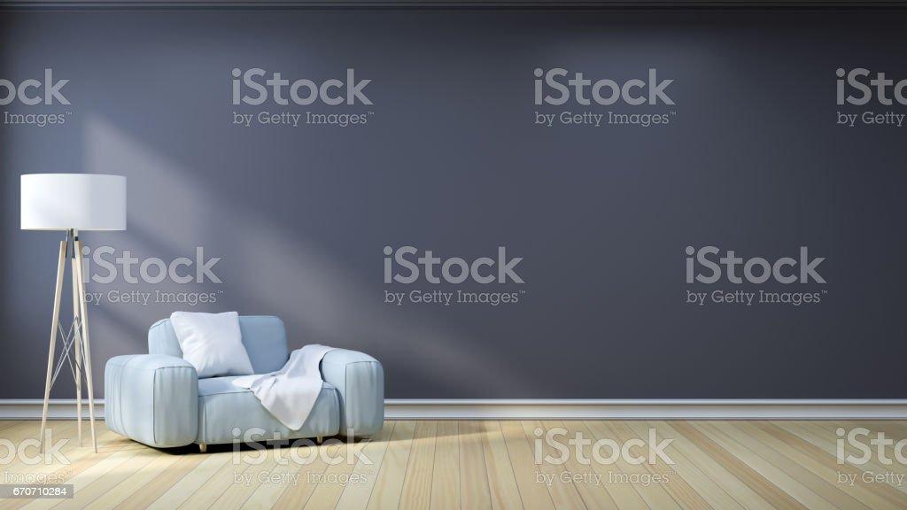 Minimalist Interior Designlight Gray Sofa With Lamp On Dark ...