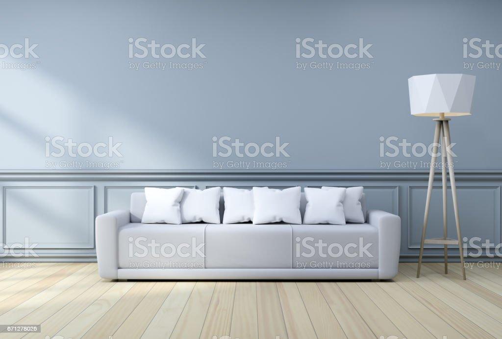 Minimalistische Inneneinrichtung Leichten Grauen Sofa Mit Lampe An ...