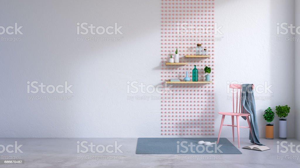 Inneneinrichtung Mit Rosa Minimalistische Raum Stuhl Weißer Auf LSzVpUqMG