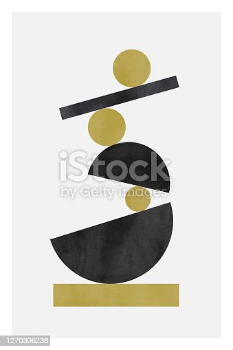 istock Minimalist poster with watercolor texture. Pastel colors. 1270306238