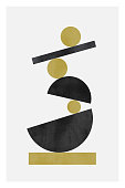 Abstract minimalist hand-drawn illustration. Shapes standing in stack and balancing. Minimalist poster with watercolor texture. Semicircle, circle shapes. Vertical poster with abstract shapes