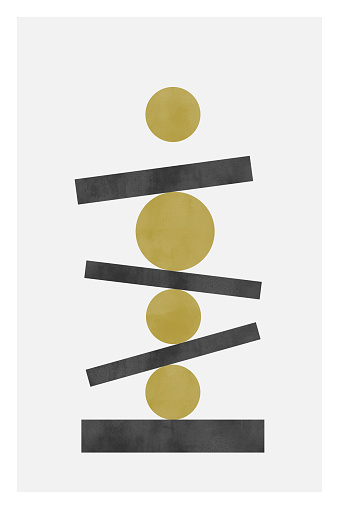 Minimalist poster with watercolor texture. Pastel colors.